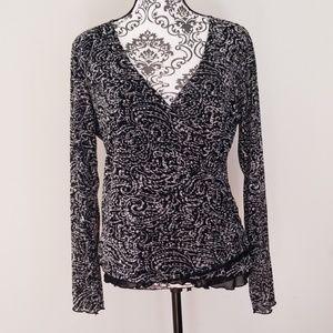 Nine & Co Black & White Print Long Sleeve Blouse